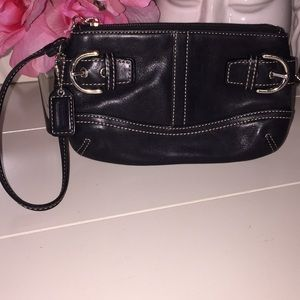 Coach wristlet black leather silver hardware